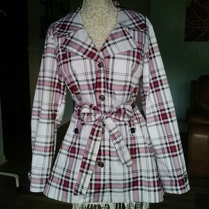 Faded Glory belted berry plaid trench coat